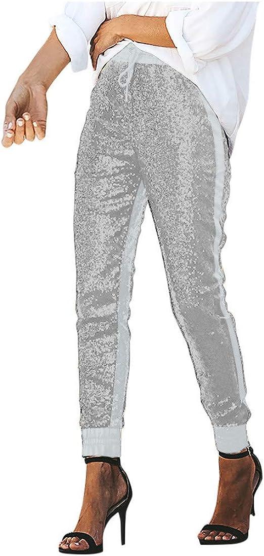 レディースパンツ スパンコールパッチワークエラスティックパンツ ハイウエストロングパンツ ストレッチスパンコールズボン