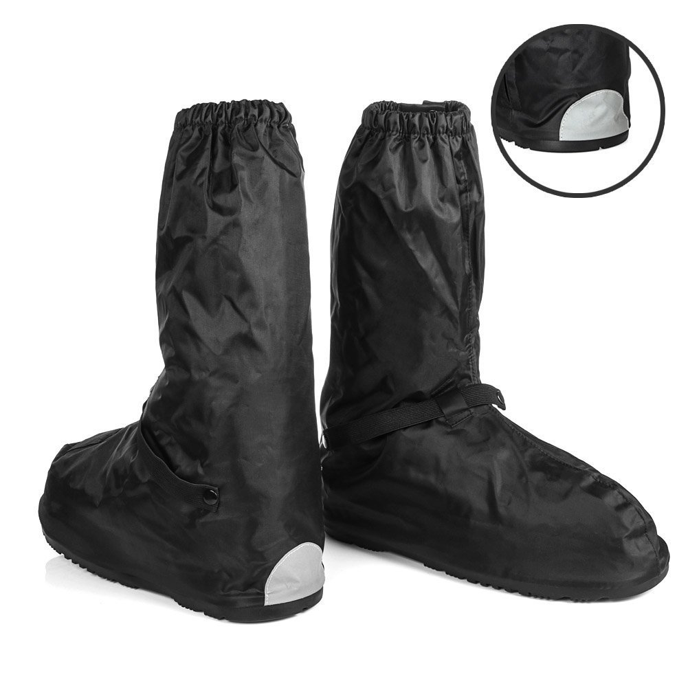 Waterproof Shoes Covers size Men 6-6.5 Women 7-8 Oxford with Reflective Heels and Sturdy Zipper Elastic Bands for Outdoor Hiking Camping Fishing - Black