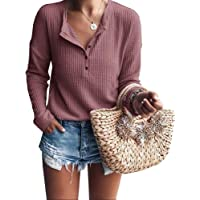 Dellytop Womens Henley Shirts V Neck Long Sleeve Button Down Tops Knit Tees