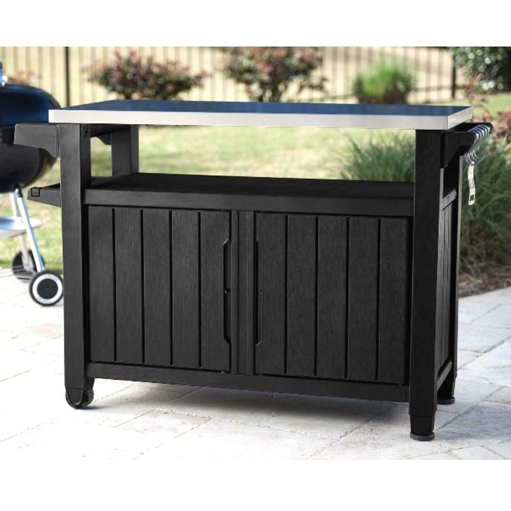 Porch Storage Cabinet Prep Rolling Island Resin Graphite 78,1 Gal Serving Table BBQ Cart Stainless Steel Top Outdoor Indoor Modern Cart & eBook by JEFSHOP