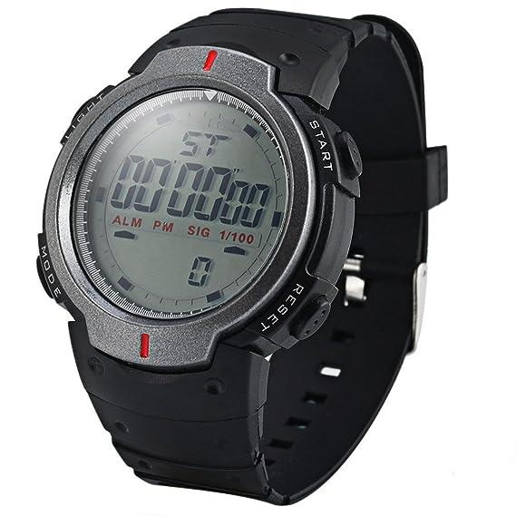 Leopard tienda Militar LED reloj deportivo Alarma con luz Mes Día Semana Plata: Amazon.es: Relojes