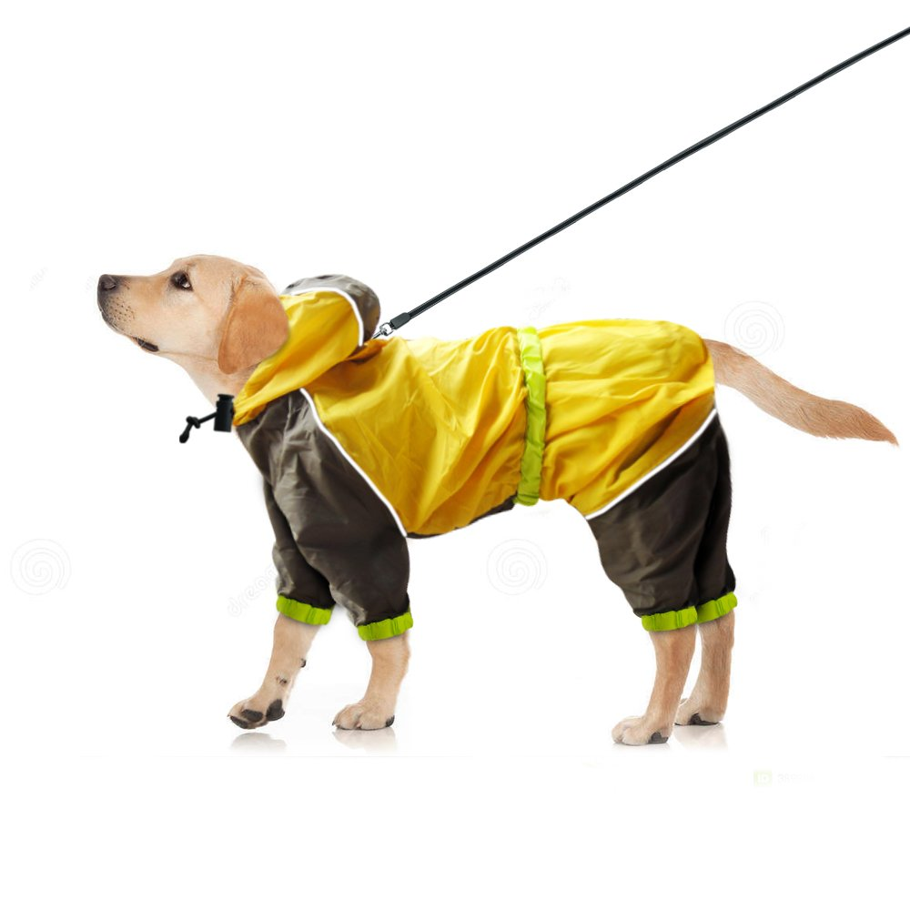 Dog Raincoat Yellow Waterproof Slicker - Lightweight and Breathable Hooded Rainwear with Safe Reflective Stripes - Dog Clothing for Small Medium Large Pet Rainy Days