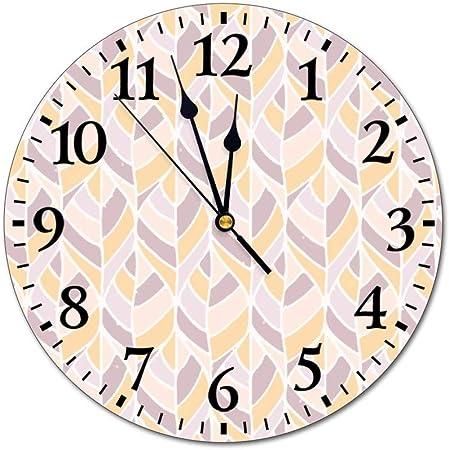 No Brand Horloge Murale En Pvc Motif Feuilles Tropicales Beige 25 4 Cm Amazon Fr Cuisine Maison