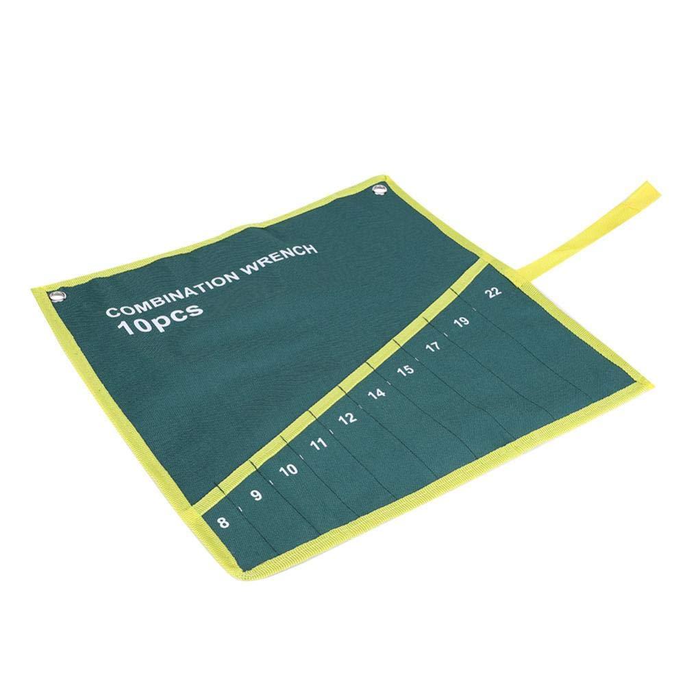 04 Gr/üne Farbe Set Schraubenschl/üssel Taschen Multi-Tasche Leinwand Aufrollen Werkzeuge Aufbewahrungstasche Spanner Zangenschl/üsselhalter Veranstalter