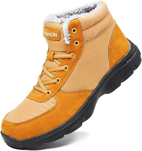 Image of BIGU Botas de Nieve Hombre Botines Invierno Plano Botines Calentar Zapatos Anti-Deslizante Deportes Al Aire Libre Boots Marrón Azul Negro