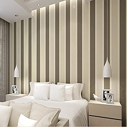 . QIHANG Modern Minimalist Vertical Stripes Bedroom TV Background Non Woven  Wallpaper Roll Coffee Color 0 53m10m 5 3SQM