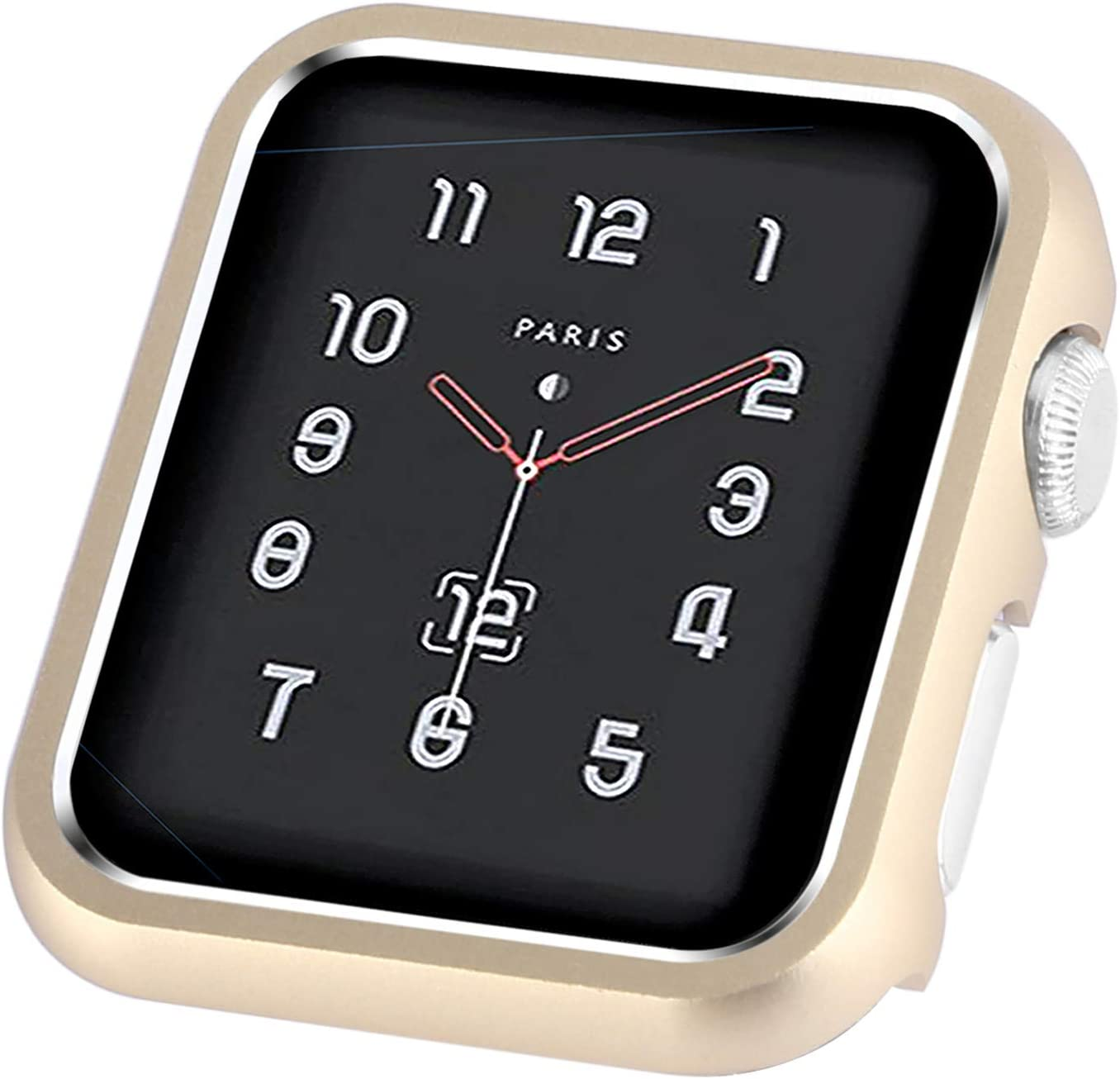 CooBES Compatible with Apple Watch Case 38mm 42mm, Metal Bumper Protective Cover Aluminum Alloy Frame Bling Shiny Protector Compatible iWatch Series 3/2/1(Matte Gold, 38mm)