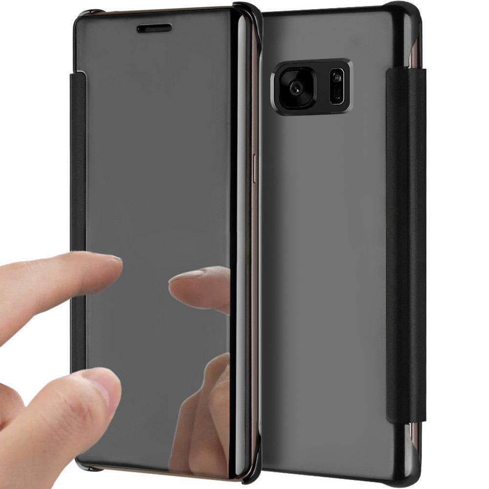 PHEZEN Galaxy S7 Edge ケース ラグジュアリーなミラー付きメイクアップケース クリアに映るメッキ仕上げ PUレザーの折り畳みフリップ付きケース マグネット開閉 フルカバーケース Samsung Galaxy S7 Edge 用 (ゴールド) PHEZEN11971 B07BFPC1YY ブラック  ブラック
