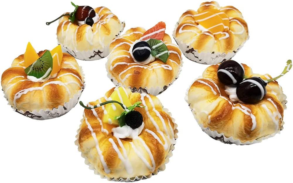 Artificial Food Bread Tart Pie Dessert Simulation Model 6pcs Fake Cake Mousse Fruit Bakery Photography Props Decor Play Food Model Kitchen Toy
