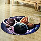 Round Rugs for Bedroom Solar System Planets All Together in Mercury Jupiter Globe Saturn Universe Circle Rugs for Living Room-Round 35''