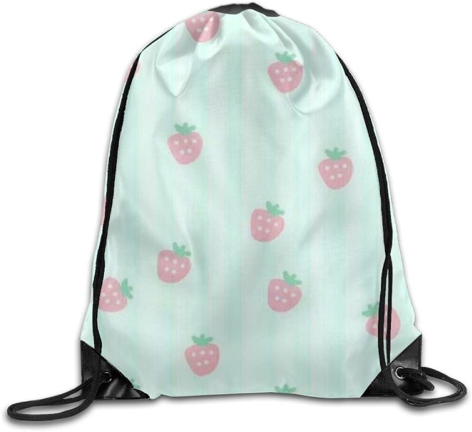 Cartoon Strawberry Drawstring Backpack Rucksack Shoulder Bags Training Gym Sack For Man And Women