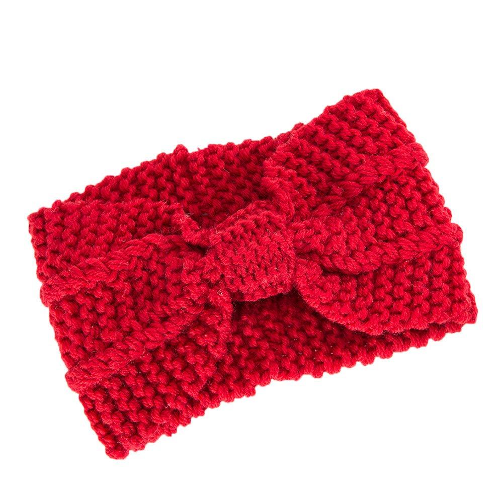 conqueror⭐⭐⭐⭐⭐ Femmes cheveux boule tricot bandeau élastique à la main arc Twisted Design HairBand Tricot Bandeau Crochet Nœud Motif Winter Bandeau