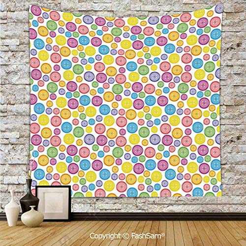 FashSam Tapestry Wall Blanket Wall Decor Circular Shaped Buttons Pattern in Various Sizes Artistic Kids Nursery Baby Print Home Decorations for Bedroom(W59xL90) -