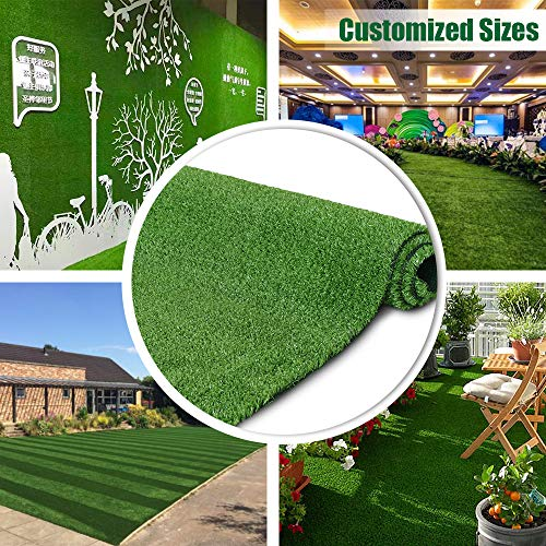 Synthetic Artificial Grass Turf 5FTX8FT Indoor Outdoor Balcony Garden Decor, Drainage Holes Faux Grass Rug Carpet for Pets (Best Carpet For Outdoor Decks)