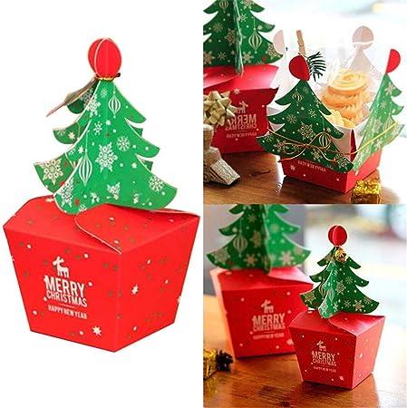 Oddity Cajas de Regalo, Caja de Embalaje de árbol de Navidad, Cajas de Envoltura de Regalo con Campanas Cordón Dorado para Cupcakes Postre Cookies Candy Gift Apple: Amazon.es: Hogar