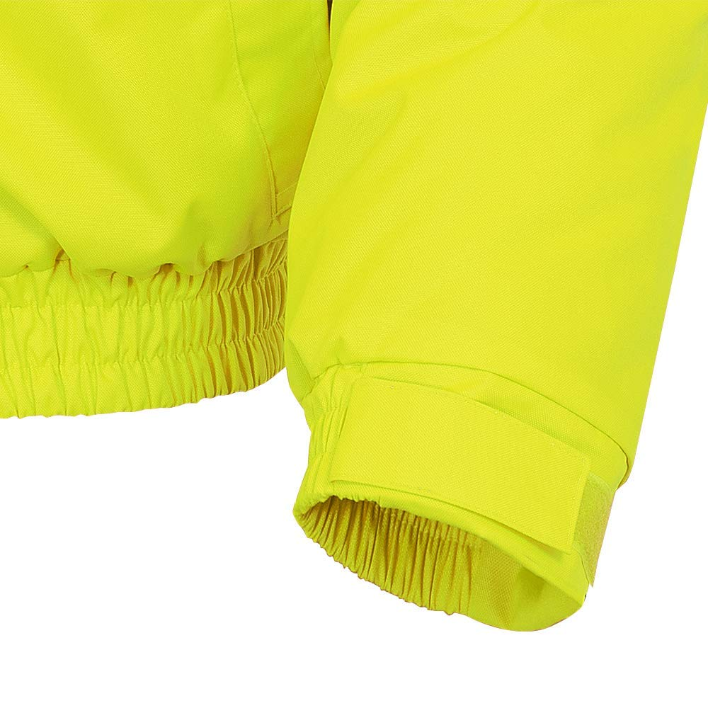 4XL Yellow-Green Pioneer V1150260-4XL Winter Quilted Safety Bomber Jacket-Waterproof