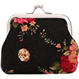 Zibuyu Women Canvas Coin Purse Cute Lady Vintage Flower Print Fastener Wallets