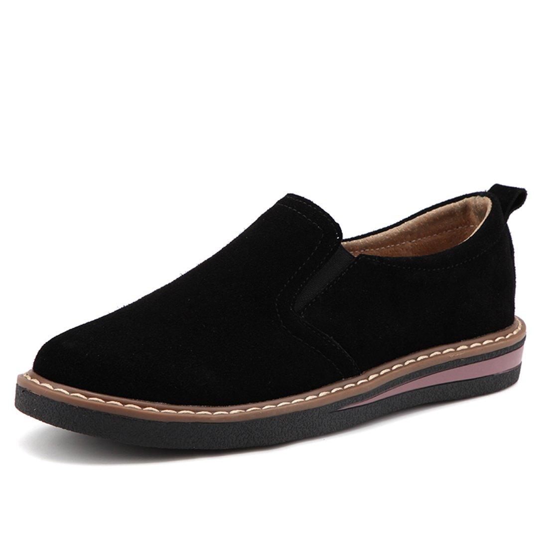 Z.SUO Women Classic Flat Shoe Lace up Faux Suede Oxford (7 US, Black)