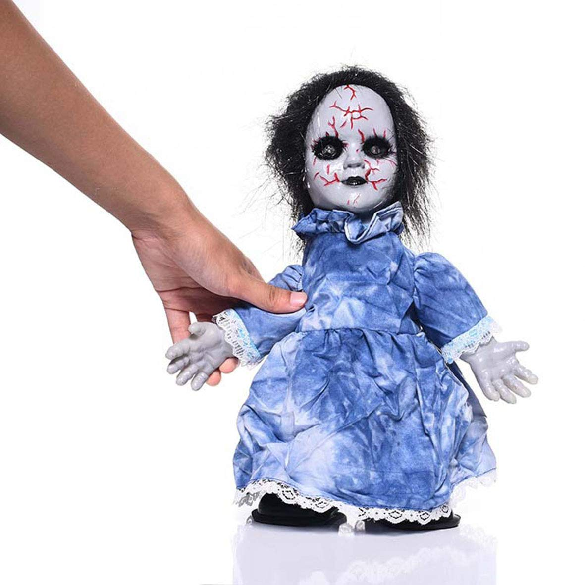 Halloween Toy Doll Binocular Glowing Electric Ghost Doll, Touch Voice Control Creepy Ghost Doll, Bar Haunted House Secret Room