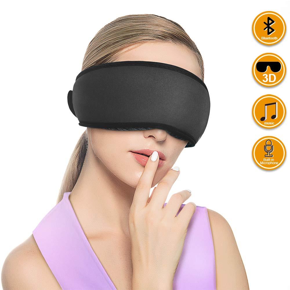 Qshell 3D Ergonomic Design Sleeping Eye Mask, Wireless Bluetooth Sleep Eye Mask Headphones,Mic Handsfree Music Call for Home and Travel,Best Gift for Men – Black