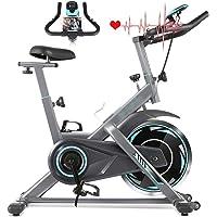 Divgdovg Bicicleta estática, Bicicleta de Ciclismo para Interiores estacionaria con Monitor de frecuencia cardíaca y Monitor LCD, cojín de Asiento cómodo, Bicicleta Cardiovascular