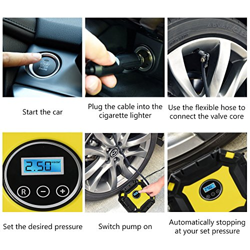 Portable-Air-Compressor-Pump-Auto-Digital-Tire-Inflator-with-Gauge-12V-100PSI-Auto-Air-Compressor-Preset-Pressure-Shut-Off-with-LED-Light-for-Car-Truck-Bicycle-Basketballs-and-Other-Inflatables