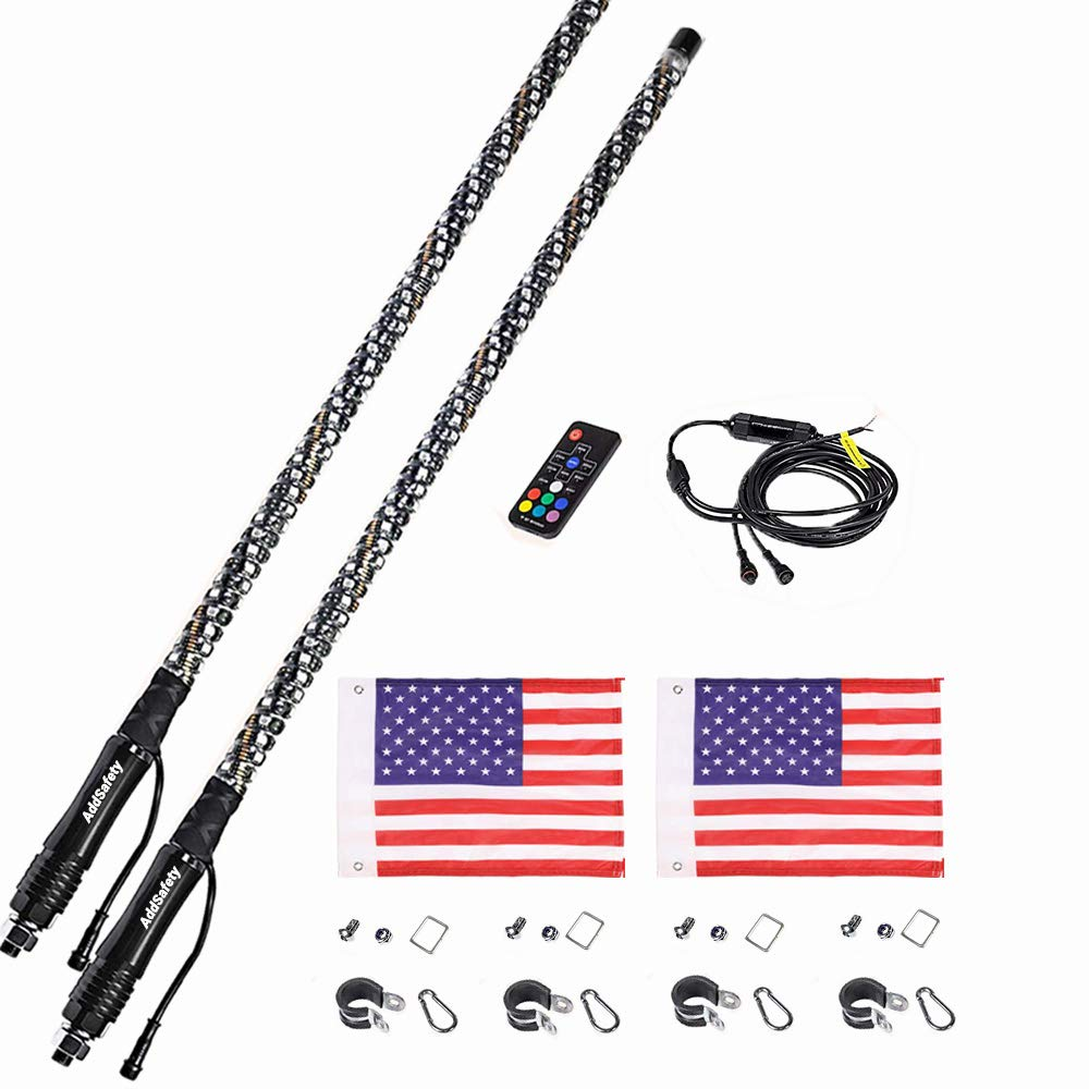 AddSafety 2PCS 3FT RF Remote Control LED Whips Light With Dacning//Chasing Light with Hookup and American Flag For Off Road Vehicle ATV UTV RZR Jeep Trucks Dunes