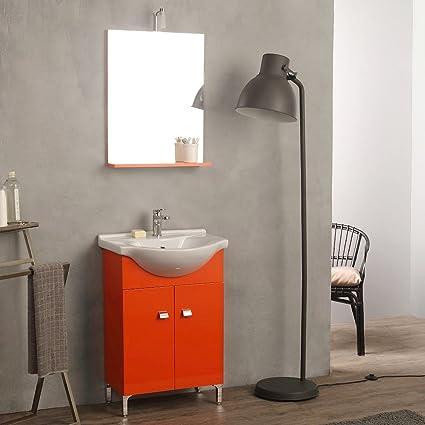 Mobile Per Il Bagno Fai Da Te.Mobile Lavabo 58 Cm A Terra Con Specchio Per Bagno Arancio Easy