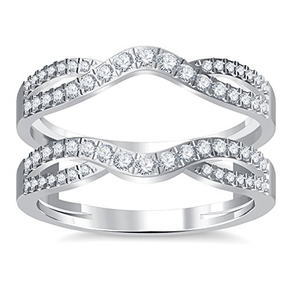 14K White Gold Plated Simulated Diamond Double Infinity Wedding Ring Guard Enhancer 1.50ct tusakha TUS-0001