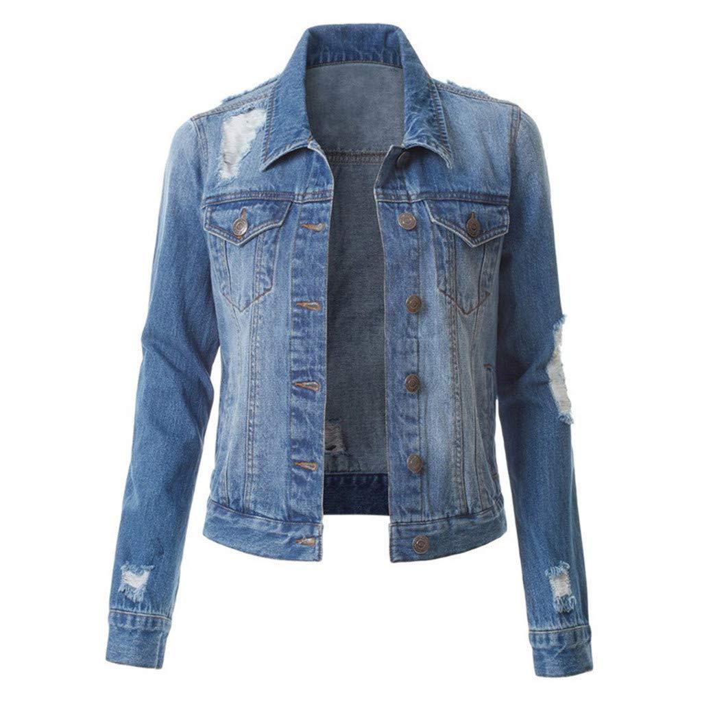 Women's Slim Fit Short Cropped Button Down Jean Denim Jacket with Pockets by Dunacifa Women Outwear