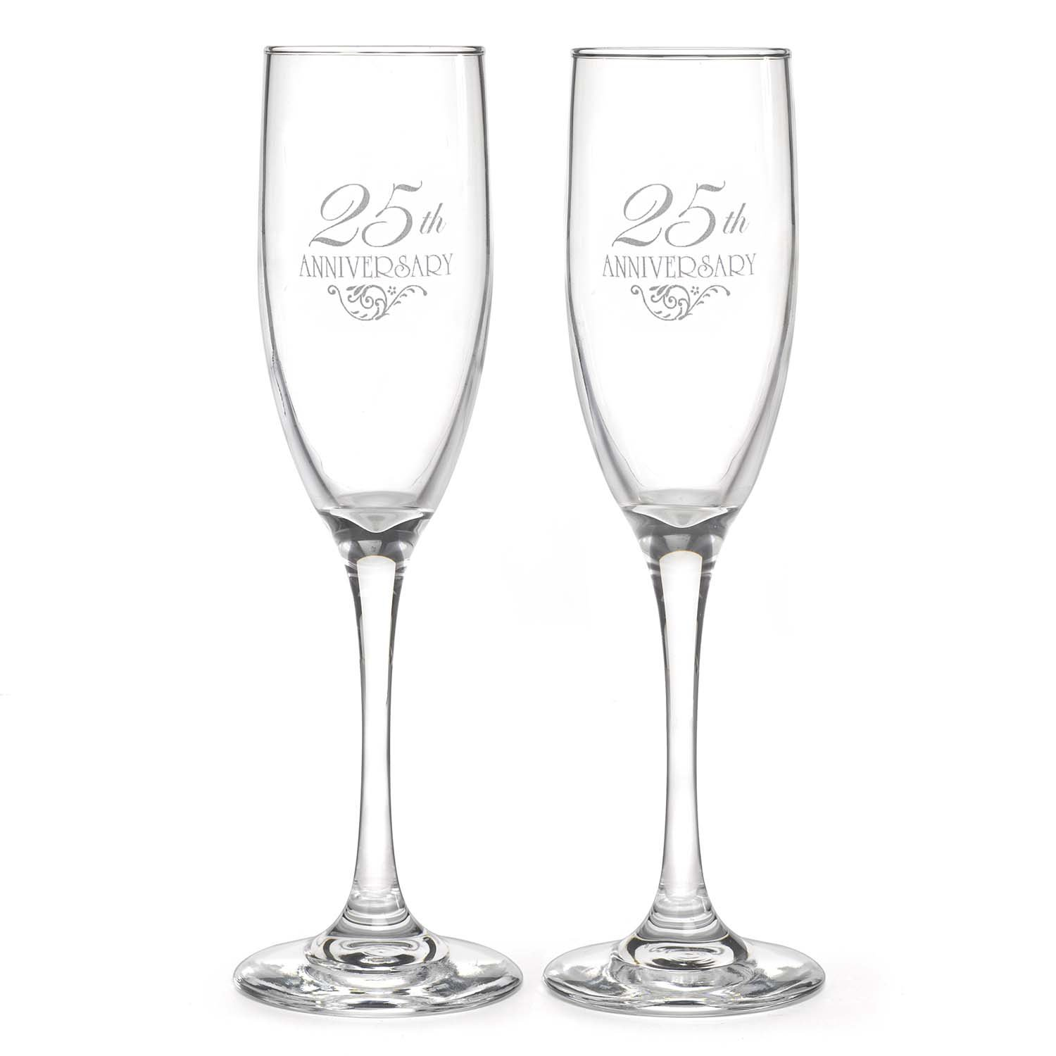Hortense B. Hewitt Wedding Accessories 25th Anniversary Champagne Toasting Flutes, Set of 2