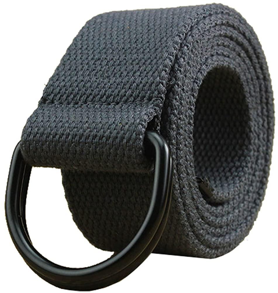 """Maikun Mens & Womens Canvas Belt with Black D-ring 1 1/2"""" Wide Extra Long Solid Color at  Men's Clothing store"""