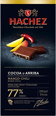 Hachez Cocoa D Arriba Chocolate Bar, Mango Chili, 3.5 Ounce