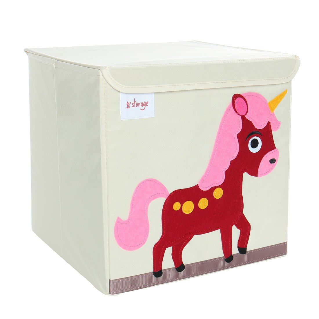 PiccoCasa Foldable Toy Storage Bins Square Cartoon Animal Storage Box Eco-Friendly Fabric Storage Cubes Organizer for Bedroom Playroom Wine Red Horse Lid 13''x13''x13.6''