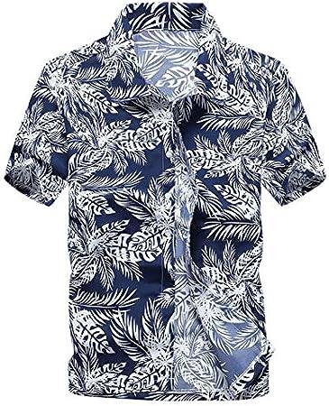 LFNANYI Verano Palmera Tropical Imprimir Camisa Hawaiana Hombres Nueva Camisa de Manga Corta Hombres Playa Camisas Casuales s Hombre 5XL: Amazon.es: Deportes y aire libre