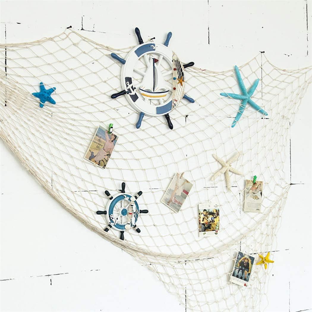 Flesser Decorative Fish Net Mediterranean Style Fish Netting Fish Net Decorations for Wall(79 x 59 inch Beige)
