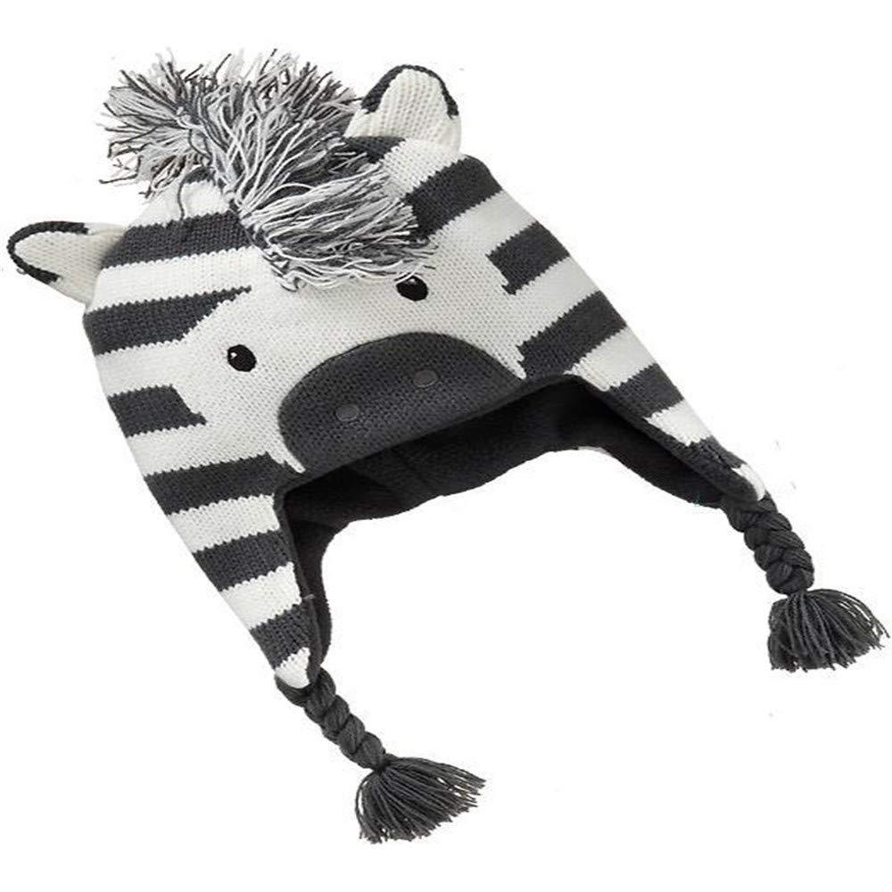 Zyyaxky Hut Kinder Warme Ohrenschützer Winter Männer Und Frauen Kinder Outdoor Niedlichen Cartoon Zebra Form Kappe, 52Cm