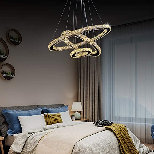 Crystal Chandelier, 27.5 x 19.6 x 11.8 Dining Room Living Room Modern LED Ceiling Pendant Light Contemporary 3 Rings Adjustable Stainless Steel Lighting Fixtures 3r Warm White
