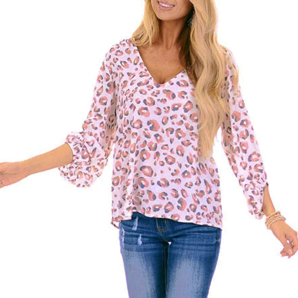 Womens Long Sleeve V Neck Casual Elegant Leopard Print Loose Shirt Top S-2XL