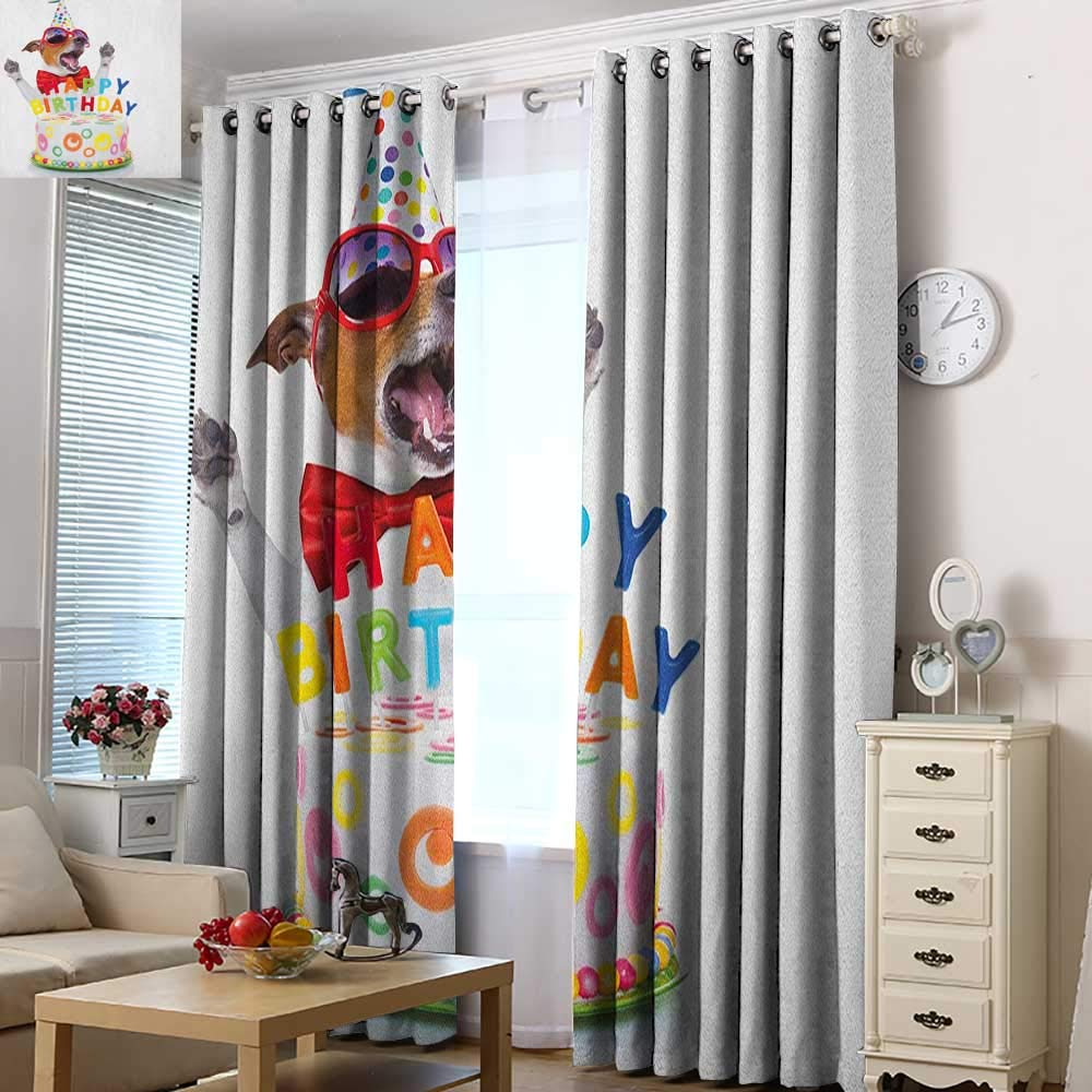 Acelik Extra Wide Patio Door Curtain Kids Birthday Party Dog at Suprise Birthday Party with Cone Hat and Glasses Photograph Fun Room Darkening, Noise Reducing 72'' W x 84'' L Multicolor