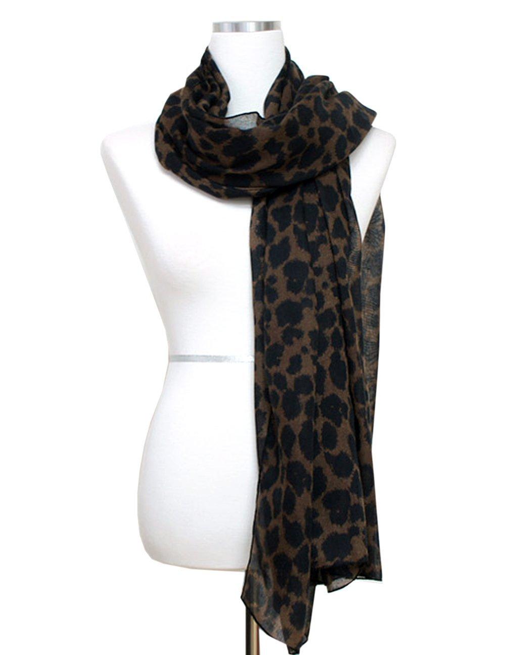 Plain Leopard Scarf - BROWN
