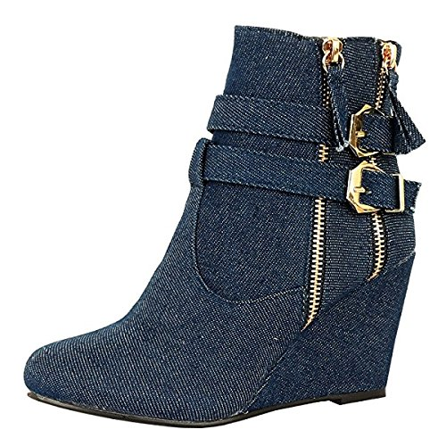 Women's Wedge Ankle Boots High Top Low Mid Heel Fashion-Sneakers Ankle Straps Double Zipper Casual Booties Blue 7