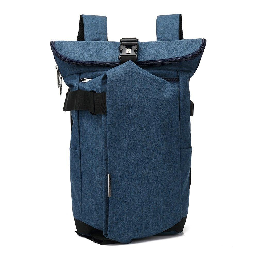 メンズトラベルバックパックカジュアルバックパック通気性カジュアル防水オックスフォードクロスデイパック商業出張 メンズバックパック (色 : 青) B07RW6XXYV 青