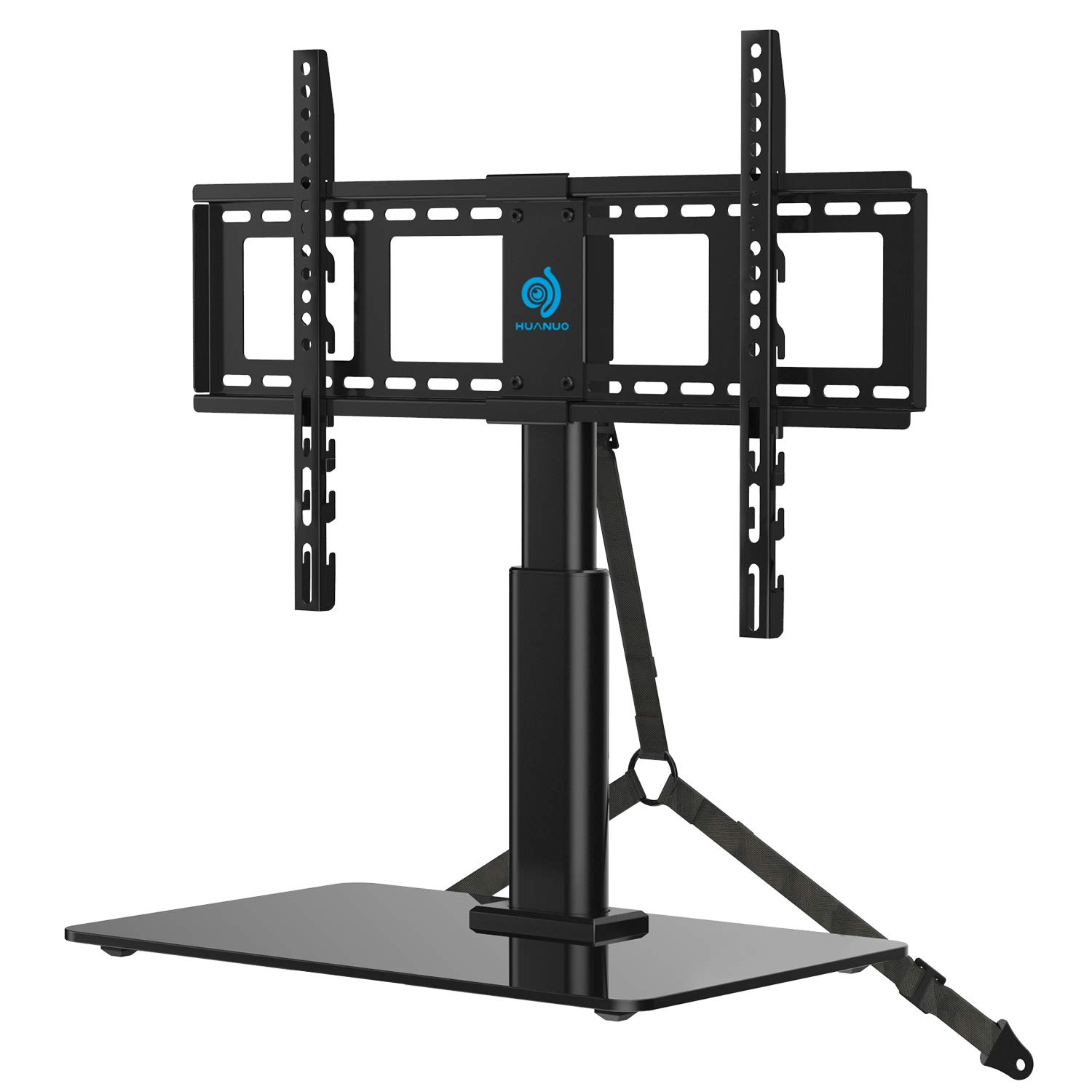 HUANUO Universal Tabletop TV Stand Holder for 32 to 60 Inch Flat Screen Television with 70 Degrees Swivel, 4 Height Adjustments, Anti-Tip Strap, Tempered Glass Base, VESA up to 600x400, Black by HUANUO