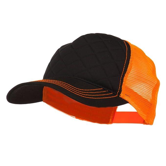 a5bc4f1df MG Fashion Quilted Trucker Two Tone Neon Mesh Cap - Black Neon Orange