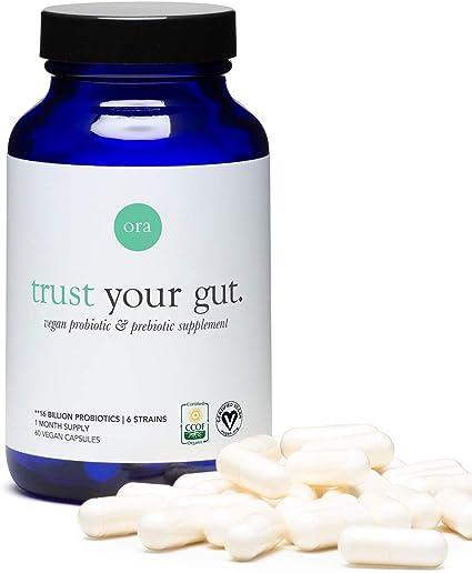 Amazon.com: Ora Organic Probiotics with Prebiotics - Vegan Prebiotic and  Probiotic for Digestive Health | Dairy-Free, Gluten-Free, for Sensitive  Stomachs - 60 Easy-Swallow, Vegan Capsules, 1 Month Supply: Health &  Personal Care