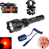 WindFire® [A Complete Set] WF-802 350 Lumens Waterproof 18650 Battery Tactical Flashlight 250 Yards Long Range Throwing RED Hunting Light RED Cree LED Coyote Hog Hunting Light Lamp Torch with Remote Pressure Switch & Barrel Mount 18650 Rechargeable battery and Charger for Hunting Fishing