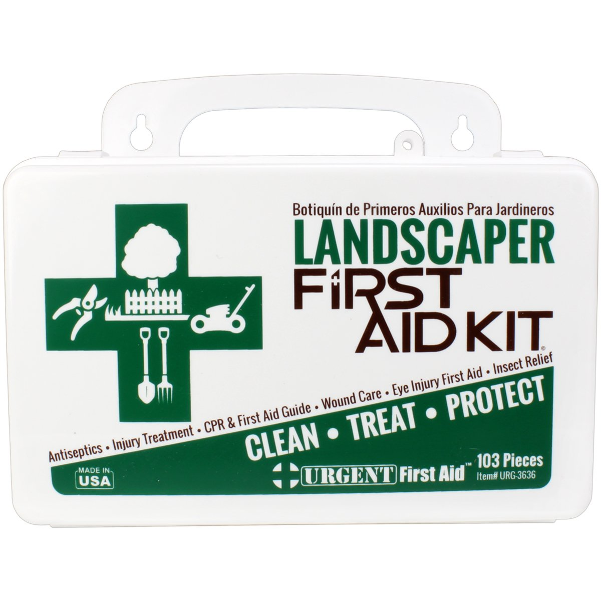 Landscaper & Tree Trimming First Aid Kit, OSHA Compliant, 10 Unit, 103 Piece, Plastic Case with Gasket to keep out moisture and dust - be OSHA Compliant: Special Extra first aid item content, too by Urgent First Aid (Image #3)