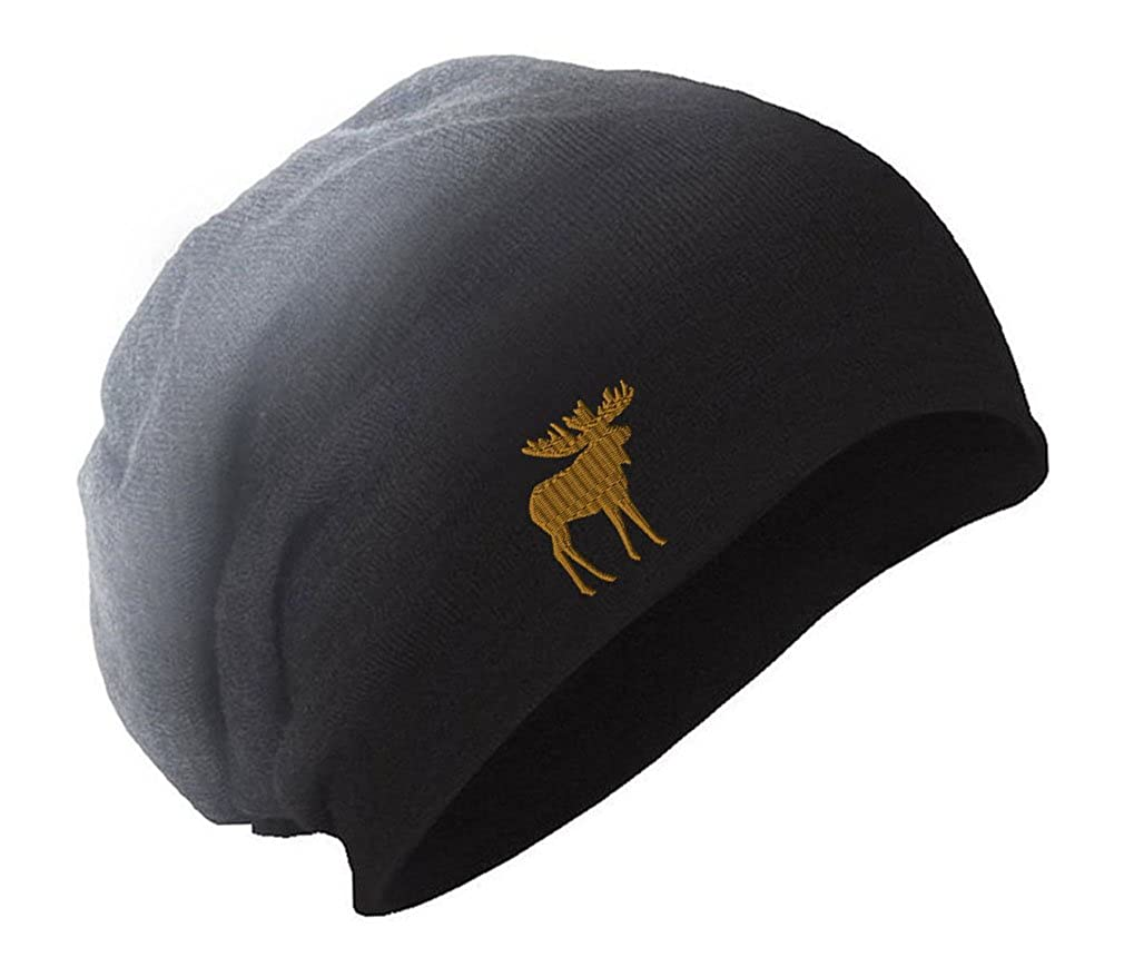 Moose Embroidery Embroidered Slouch Long Beanie Skully Hat Cap BNSLWILD056_B