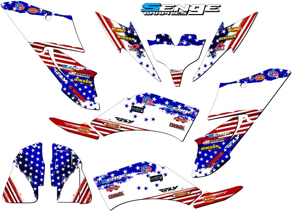 Senge Graphics Kit compatible with Yamaha All Years Raptor 250 Merica USA Graphics Kit with blank number plates